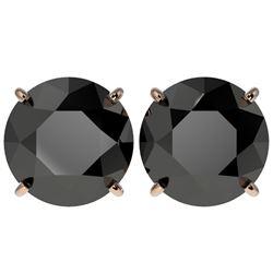 5 CTW Fancy Black VS Diamond Solitaire Stud Earrings 10K Rose Gold - REF-97A2V - 33146