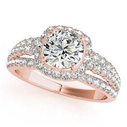 2 CTW Certified VS/SI Diamond Solitaire Halo Ring 18K Rose Gold - REF-407M3F - 26749