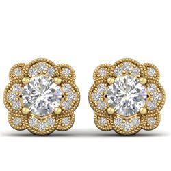 1.50 CTW Certified VS/SI Diamond Art Deco Stud Earrings 14K Yellow Gold - REF-196A2V - 30515