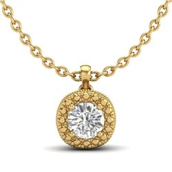 1.10 CTW VS/SI Diamond Solitaire Art Deco Stud Necklace 18K Yellow Gold - REF-218V2Y - 37123
