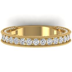 1.25 CTW VS/SI Diamond Art Deco Eternity Band Ring 14K Yellow Gold - REF-96R4K - 30323