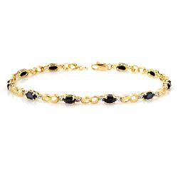 3.42 CTW Blue Sapphire & Diamond Bracelet 10K Yellow Gold - REF-43M6F - 12879