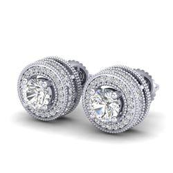 2.09 CTW VS/SI Diamond Solitaire Art Deco Stud Earrings 18K White Gold - REF-254N5A - 37139