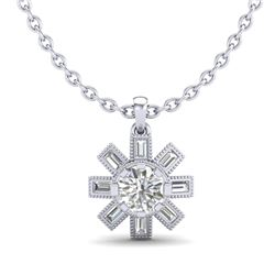 1.33 CTW VS/SI Diamond Solitaire Art Deco Stud Necklace 18K White Gold - REF-220M9F - 37067