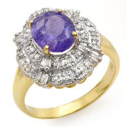 2.70 CTW Tanzanite & Diamond Ring 14K Yellow Gold - REF-90F9N - 13835