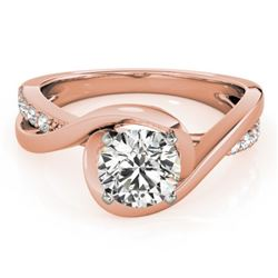 0.65 CTW Certified VS/SI Diamond Solitaire Ring 18K Rose Gold - REF-133R3K - 27451