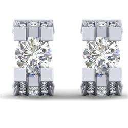2.25 CTW Certified VS/SI Diamond Art Deco Stud Micro Earrings 14K White Gold - REF-233R5K - 30288