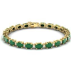 30.8 CTW Emerald & VS/SI Certified Diamond Eternity Bracelet 10K Yellow Gold - REF-214H5M - 29451