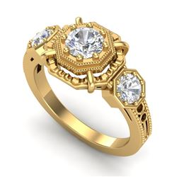 1.01 CTW VS/SI Diamond Solitaire Art Deco 3 Stone Ring 18K Yellow Gold - REF-200Y2X - 36883