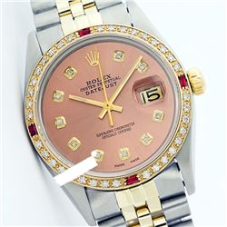 Rolex Ladies Two Tone 14K Gold/SS, Diam Dial & Diam/Ruby Bezel, Sapphire Crystal - REF-434K5T