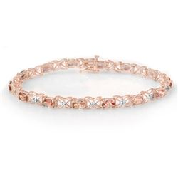 6.0 CTW Pink Tourmaline & Diamond Bracelet 18K Rose Gold - REF-132H5M - 14140