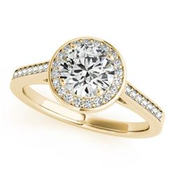 1.33 CTW Certified VS/SI Diamond Solitaire Halo Ring 18K Yellow Gold - REF-408Y2X - 26361