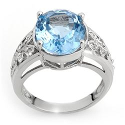 7.15 CTW Blue Topaz & Diamond Ring 10K White Gold - REF-38Y5X - 10336