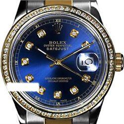 Rolex Men's Two Tone 14K Gold/SS, QuickSet, Diamond Dial & Diamond Bezel - REF-557X4Y