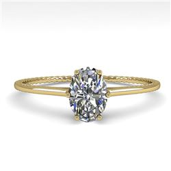 1.0 CTW VS/SI Oval Cut Diamond Solitaire Engagement Ring Size 7 18K Yellow Gold - REF-287F4N - 35893
