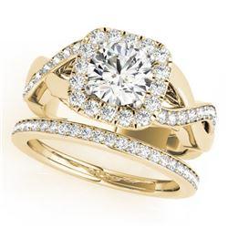 2 CTW Certified VS/SI Diamond 2Pc Wedding Set Solitaire Halo 14K Yellow Gold - REF-413R8K - 30653