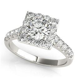 2.5 CTW Certified VS/SI Diamond Solitaire Halo Ring 18K White Gold - REF-635K3W - 26835