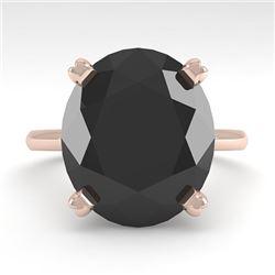 9.0 CTW Oval Black Diamond Engagement Designer Ring 18K Rose Gold - REF-300H2M - 32453