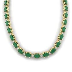 71.85 CTW Emerald & VS/SI Certified Diamond Eternity Necklace 10K Yellow Gold - REF-563M6F - 29507