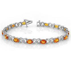 10.15 CTW Orange Sapphire & Diamond Bracelet 18K White Gold - REF-111V8Y - 11673