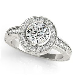 1.11 CTW Certified VS/SI Diamond Solitaire Halo Ring 18K White Gold - REF-216W2H - 26649