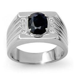 3.76 CTW Blue Sapphire & Diamond Men's Ring 10K White Gold - REF-73F8N - 13515