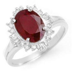 2.55 CTW Ruby & Diamond Ring 18K White Gold - REF-79M3F - 13121