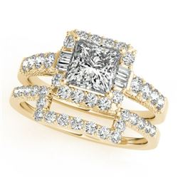 2.02 CTW Certified VS/SI Princess Diamond 2Pc Set Solitaire Halo 14K Yellow Gold - REF-463X3R - 3139