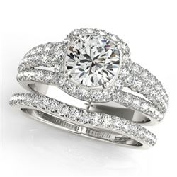2.44 CTW Certified VS/SI Diamond 2Pc Wedding Set Solitaire Halo 14K White Gold - REF-551Y8X - 31145