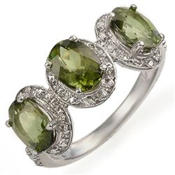 3.08 CTW Green Tourmaline & Diamond Ring 10K White Gold - REF-42F5N - 11053