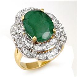 7.04 CTW Emerald & Diamond Ring 14K Yellow Gold - REF-159H3M - 13099