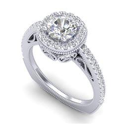 1.55 CTW VS/SI Diamond Solitaire Art Deco Ring 18K White Gold - REF-263N6A - 37115