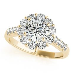 2 CTW Certified VS/SI Diamond Solitaire Halo Ring 18K Yellow Gold - REF-410W2H - 26289