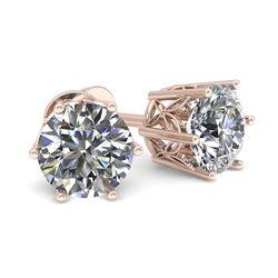 0.50 CTW Certified VS/SI Diamond Stud Solitaire Earrings 18K Rose Gold - REF-58H2M - 35813