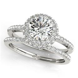 1.25 CTW Certified VS/SI Diamond 2Pc Wedding Set Solitaire Halo 14K White Gold - REF-204N2A - 30924