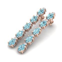 10.36 CTW Sky Blue Topaz & VS/SI Certified Diamond Earrings 10K Rose Gold - REF-53H3M - 29411