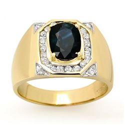 3.10 CTW Blue Sapphire & Diamond Men's Ring 14K Yellow Gold - REF-104K5W - 13482
