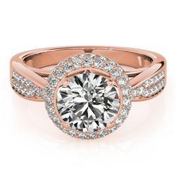 2.15 CTW Certified VS/SI Diamond Solitaire Halo Ring 18K Rose Gold - REF-604R7K - 27010