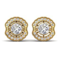 1.50 CTW Certified VS/SI Diamond Art Deco Stud Earrings 14K Yellow Gold - REF-196F2N - 30542