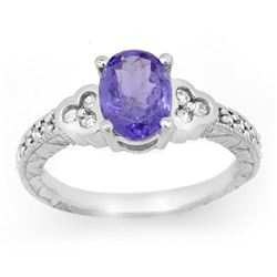 2.42 CTW Tanzanite & Diamond Ring 14K White Gold - REF-69V3Y - 14253