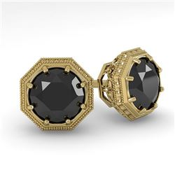 1.0 CTW Black Diamond Stud Solitaire Earrings 18K Yellow Gold - REF-52W5H - 35956