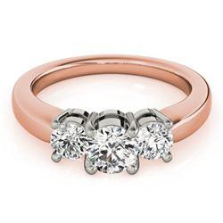 1 CTW Certified VS/SI Diamond 3 Stone Solitaire Ring 18K Rose Gold - REF-170K2W - 28066