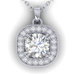 1.02 CTW Certified VS/SI Diamond Stud Micro Halo Necklace 14K White Gold - REF-173Y6X - 30435
