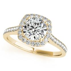 0.85 CTW Certified VS/SI Diamond Solitaire Halo Ring 18K Yellow Gold - REF-125F5N - 26873