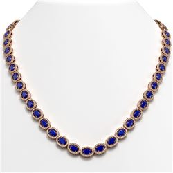 34.11 CTW Sapphire & Diamond Necklace Rose Gold 10K Rose Gold - REF-537W5H - 40407