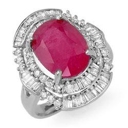 5.75 CTW Ruby & Diamond Ring 18K White Gold - REF-152N7A - 12902