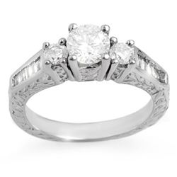 1.01 CTW Certified VS/SI Diamond Ring 18K White Gold - REF-146M7F - 11348