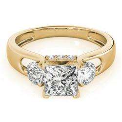 1.35 CTW Certified VS/SI Princess Cut Diamond 3 Stone Ring 18K Yellow Gold - REF-238Y2X - 28034