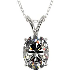 1.25 CTW Certified VS/SI Quality Oval Diamond Solitaire Necklace 10K White Gold - REF-423H3M - 33211