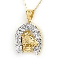 1.25 CTW Certified VS/SI Diamond Pendant 14K Yellow Gold - REF-129M3F - 14428